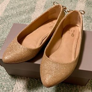 Rose Gold Glitter Shimmer Ballet Flats with Bows